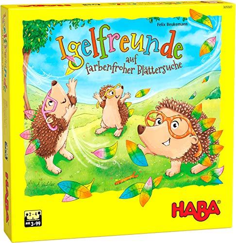 HABA 305587 - Igelfreunde, Würfelspiel für 2-4 Spieler ab 3 Jahren, umfangreiches Spielmaterial mit Igel-Figuren und Blättern zum Stecken