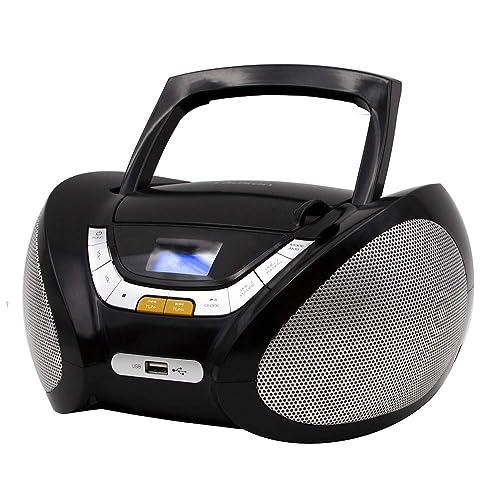 Lauson Lecteur CD   Radio Portable   USB   Radio Stéréo CD Lecteur MP3 pour Enfant   Chaîne stéréo   Prise Casque   Aux in - Écran LCD - Batterie et Alimentation électrique (Noir)
