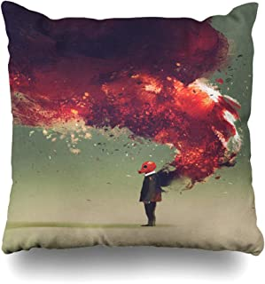 Ahawoso Throw Pillow Cover Watercolor Red Gas Mask Standing Fire Flame Burning Smoke On His Back Painting Surreal Decorative Pillowcase Square Size 20