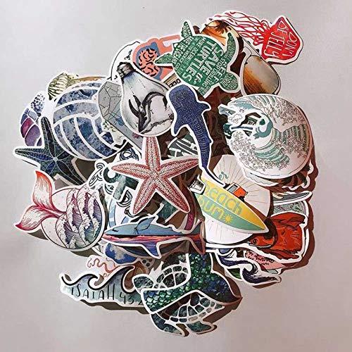 ZZHH 50 Uds Blue Ocean Beach Creativo Dream Island Doodle Pegatina DIY Tabla de Surf monopatín portátil decoración de Coche Pegatinas