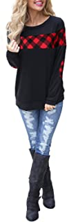 Women's Color Block Plaid Shirt Crew Neck Elbow Patches Pullover Sweatshirt Top