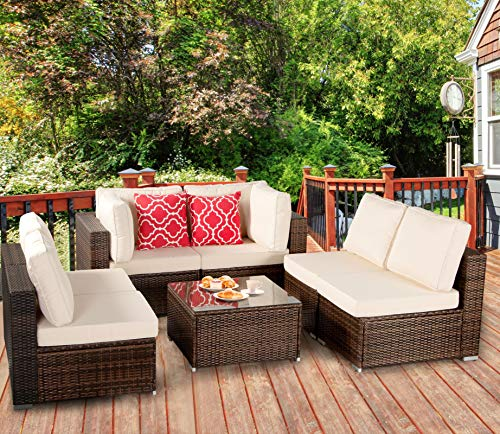 Polaris Garden 7-Piece Outdoor Patio Furniture Set, PE Rattan Wicker Sofa Set, Outdoor Sectional Conversation Furniture Chair Set with Cushions and Tea Table (Brown/Tan)