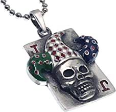 Hallween Jewelry Joker card skull horror gothic Pewter Men Pendant Necklace w Silver Ball Chain
