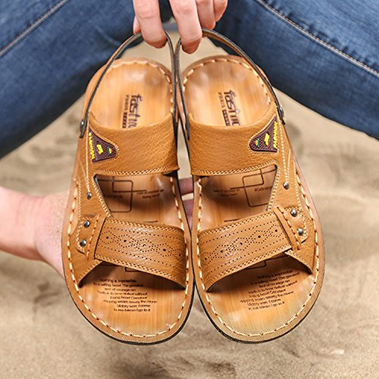 Men's Sandals, Leather Sandals, Young Summer Slippers