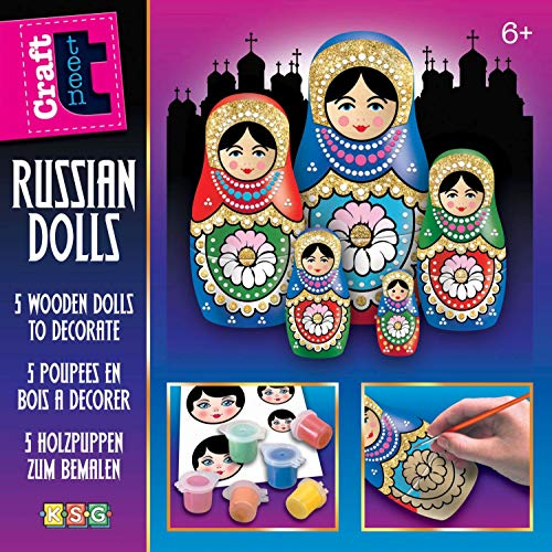 Mammut Spiel & Geschenk Glitzer Crafts Manualidades Purpurina Set Completo de 5 Matroschkas de Madera, 6 Colores acrílicos Barnices y Otros Accesorios para niños a Partir de 6 años (KSG 8171509)