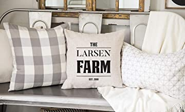 Qualtry Personalized Family Farm Pillow Cover Home Accents Country Decor 18inch x 18inch - Farmhouse Cottage Throw Pillows Cases Birthday Gifts for Mom and Grandma (Larsen Design)