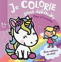 Fées et licornes - Bloc de coloriages aux contours épais pailletés et en relief - dès 2 ans