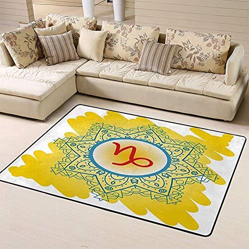 SESILY Fußmattenbereich Teppich Teppiche Sternzeichen Steinbock was ist Karma Kreis mit Zeichen Bodenmatte