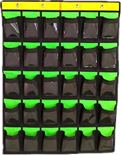 Cell Phone Pocket Chart Classroom Calculator Holder Hanging Organizer Green(30 Pockets with Cards)