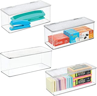 "mDesign Long Plastic Stackable Home, Office Supplies Storage Organizer Box with Attached Hinged Lid - Holder Bin for Note Pads, Gel Pens, Staples, Dry Erase Markers, Tape - 5"" High Pack of 4 Clear"