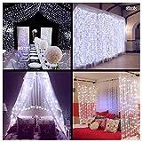 Cortina de luces LED, Gloriz 3 * 3M 300LEDs luz led lampara lluminación de decoración al aire libre con 8 modelos de lluminación, impermeable IP54 para Decoración de Ventanas, la decoración de...