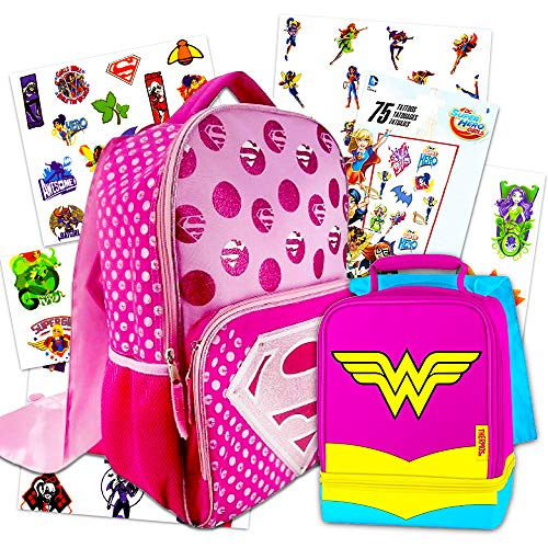 Supergirl Backpack and Lunch Box Set ~ Includes Deluxe 16' Supergirl Backpack with Cape, Wonder Woman Lunch Bag with Cape, and Superhero Girls Temporary Tattoos (Supergirl School Supplies)