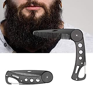 DKAF Stainless Steel Beard Comb Folding Beard Comb Hair Straightener Hairdressing Salon Straightening Brush For Men Thick, Curly & Course Beard Comb