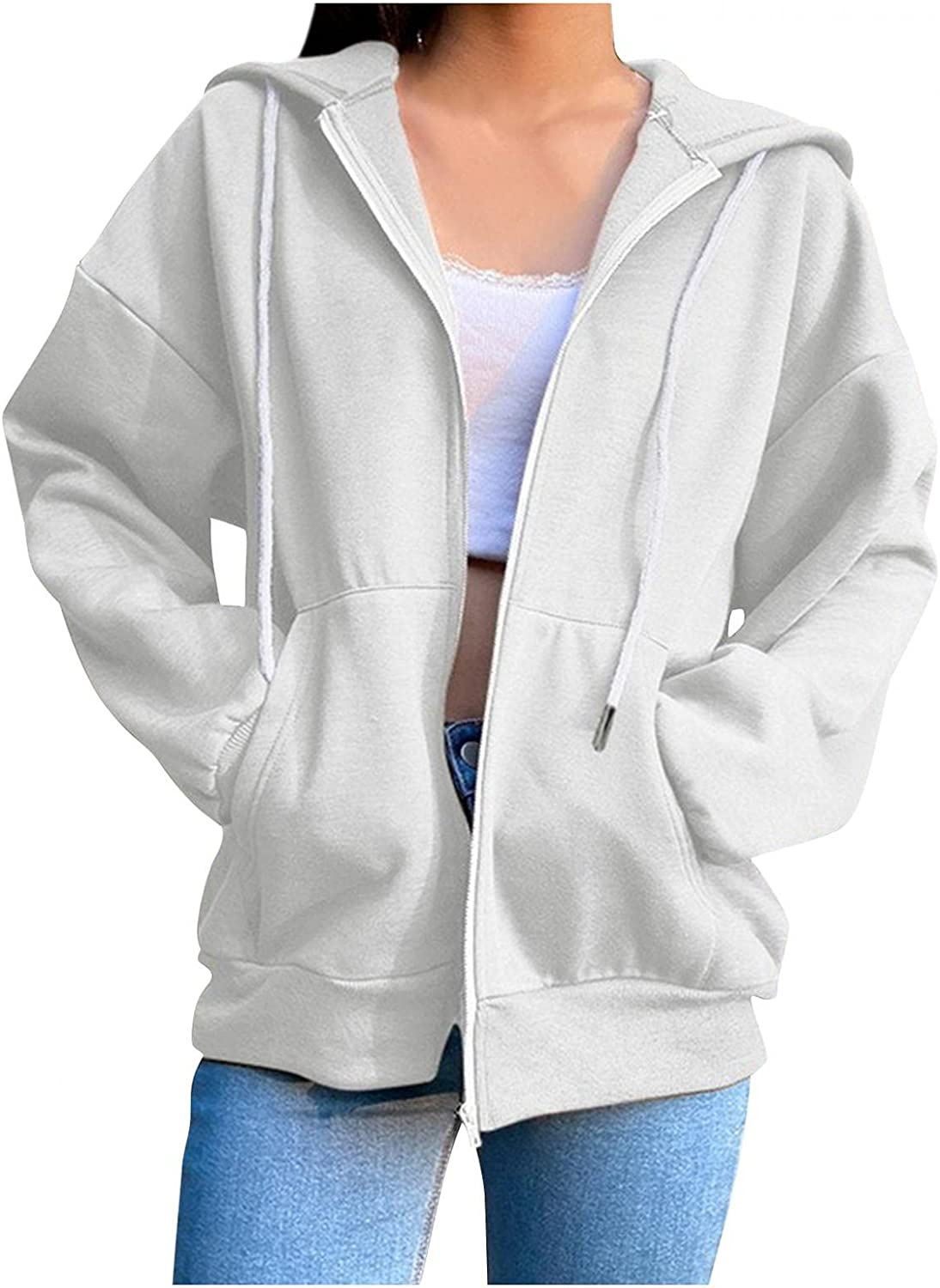 LEIYAN Womens Oversized Hooded Jackets Zip Up Long Sleeve Casual Motorcycle Bomber Coat Outerwear Streetwear with Pockets