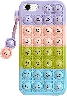 JAWSEU Kompatibel med iPhone 6/7/8/SE 2020 fodral, fidget toys mobilskal TPU Pop Bubble Fidget Toy stresslindring silikon ...