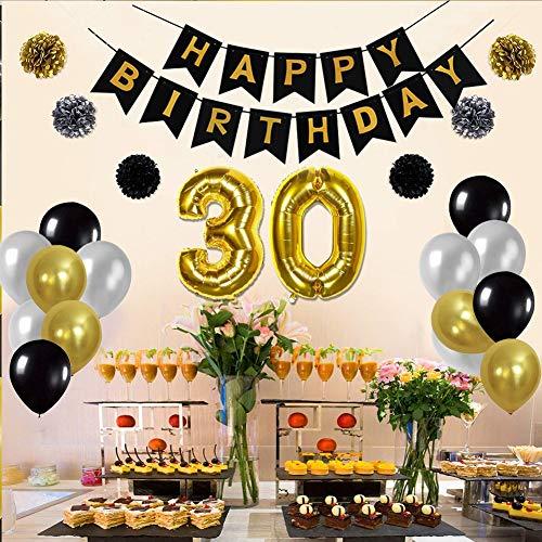 12 Latex Balloon Black Happy Birthday Banner Hanging Swirl 12PCS