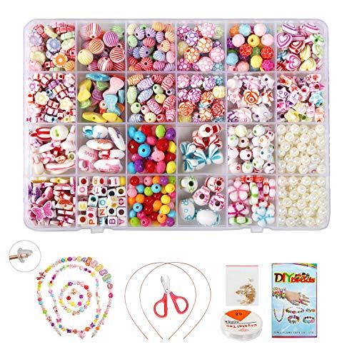 BelleStyle Perlen zum Kinder Schmuck, DIY Freundschaftsarmbänder Halsketten Kunsthandwerks-Set für Mädchen Kinder Komplettes Zubehör inklusive 24 Farben 550 Perlen für Kinder
