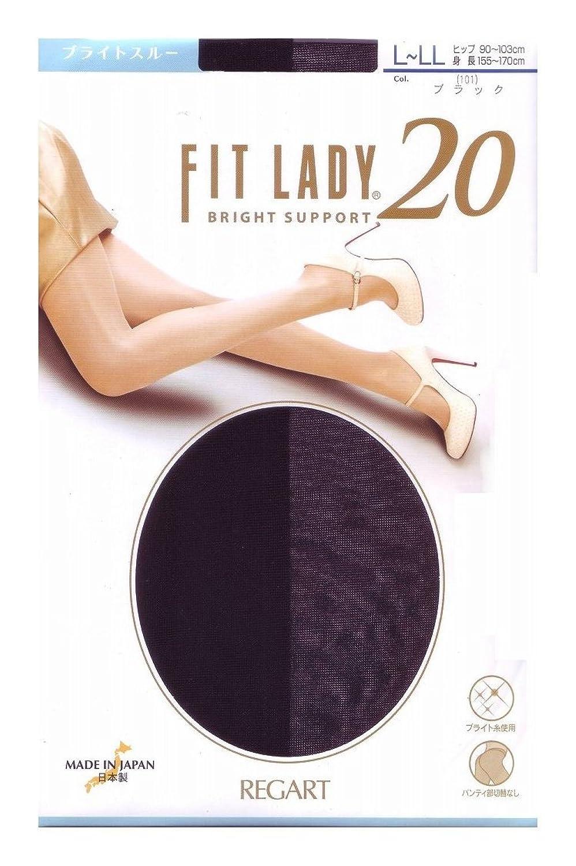 FIT LADY 光沢 ブライトスルー ストッキング 20デニール (L-LL, ブラック)