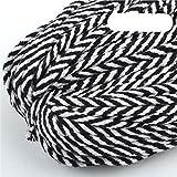 WEDSA 30 Metros 5 mm Cordón de algodón Cuerda Trenzada ecológica Hilo de Alta tenacidad DIY Textil Artesanía Cuerda Tejida Decoración del hogar Touw-Negro Blanco