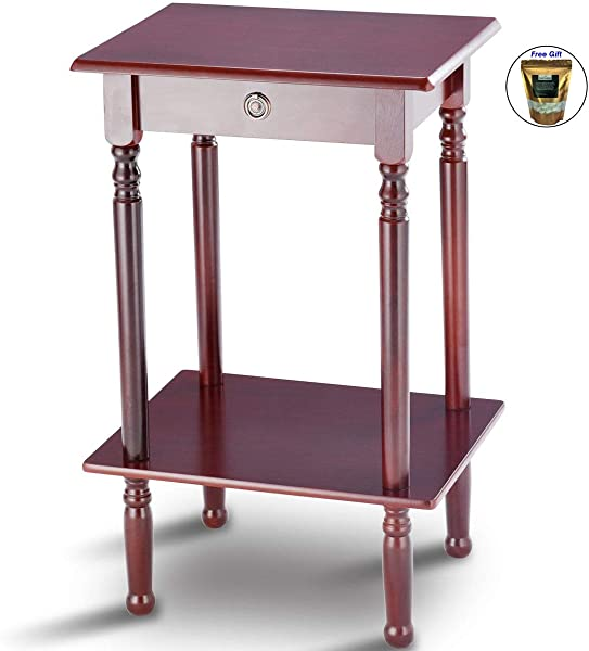 End Table Tall Wood Side Table Accent Style Telephone Stand Table Shelf Only By Eight24hours