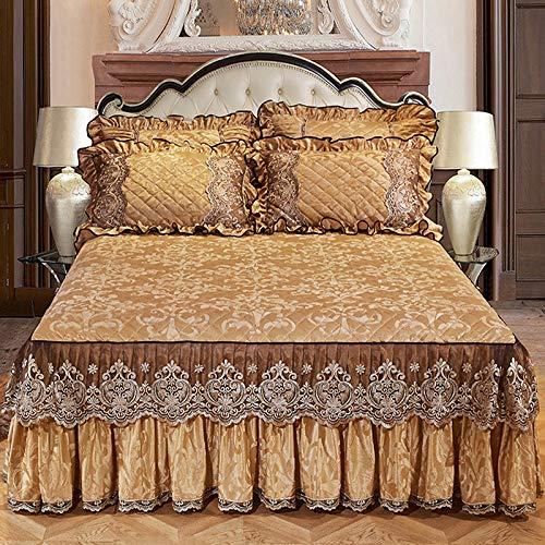 Gesteppter Bett Rock, Bestickt Bett Volant Spitze Tagesdecke Faltenresistent und ausbleichen beständig Mit rüschen-O 150x200cm/59x79inch
