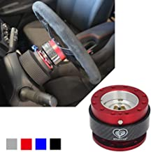 Kyostar 100% Real Carbon Fiber Steering Wheel Quick Release Hub Adapter Snap Off Boos Kit(Red)