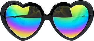 Womens Mirrored Rusta Mirror Lens Plastic Frame Heart Shape Sunglasses