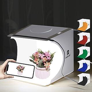 PULUZ [2019最新版] 撮影ボックス 2LEDライト40PCS、22*23*24cm小型 簡易スタイジオ ミニ撮影ボックス USB給電 背景布6色付属 組立簡単 折り畳み 20cmシャドーレスライトパネルと組合せ使用するとより素敵な効果がある 携帯型 撮影照明ボックス/撮影ブース/撮影キット