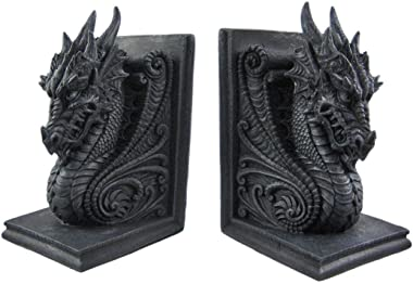 Bellaa 25617 Gothic Dragon Bookends Midieval Book Ends Evil Medieval Castle