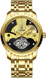 Lixada Men Fashion Automatic Mechanical Watch Stainless Steel Watch Band Metal Case Waterproof Wrist Watch T856B