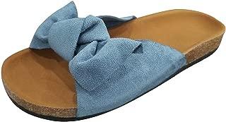 〓COOlCCI〓Slide Sandals for Women/Cork Sole/Canvas Knot Bow/Womens Slides/Sandals for Women Blue