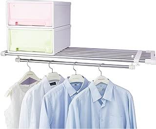 Hershii Closet Tension Shelf Expandable Telescopic Rod Heavy Duty Clothes Hanging Rail Adjustable DIY Storage Organizer Shoe Rack for Garage Bathroom Kitchen Bedroom