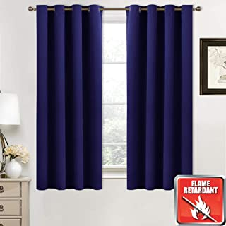 NICETOWN Inherent Flame Resistant Window Curtains - (Dark Blue Color) 52 inches W by 63 inches L, Set of 2, Thermal Blackout Fire Retardant Panels for Classroom/Hotel/Office