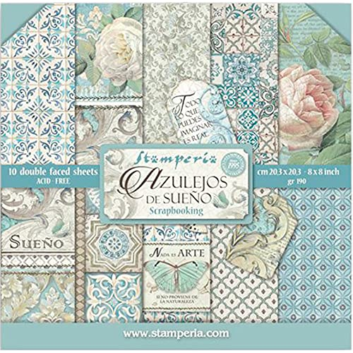 STAMPERIA Small Azulejos de Sueno-Bloc de Papel (10 Hojas, Doble Cara), Multicolor, 20.3 x 20.3 (8' x 8')