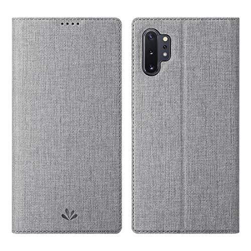 Galaxy Note 10 Plus/10+/5G Hülle,Premium Leder Geldbörse Tasche mit[Kartenhalter][ID Holder][TPU Bumper] Stoßfest Schutzbrieftasche Stoßfest Flip Tasche für Samsung Galaxy Note 10 Plus/10+/5G(grau)