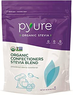 Pyure Organic Confectioners Stevia Sweetener Blend, Powdered Sugar Substitute, Keto, 1 Pound (16 Ounce)