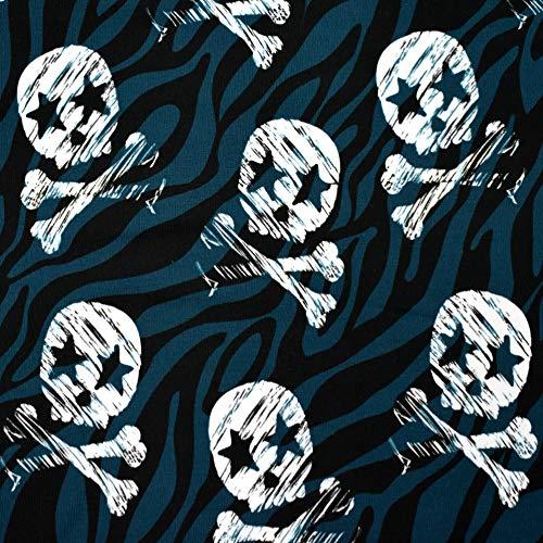 MAGAM-Stoffe Rockstar Skulls Totenköpfe Jersey Kinder Stoff Oeko-Tex Meterware 50cm (Petrol)
