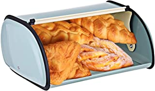 Maikouhai Metal Bread Box with Roll Top Lid Kitchen Storage Containers Home Kitchen Gifts, Counter Bread Storage Bin Holder Organization (Blue)
