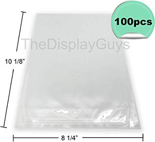 """The Display Guys, 100 Pcs 8 ¼"""" x 10 1/8"""" Clear Self Adhesive Plastic Bags for 8""""x10"""" Picture Photo Framing Mats"""