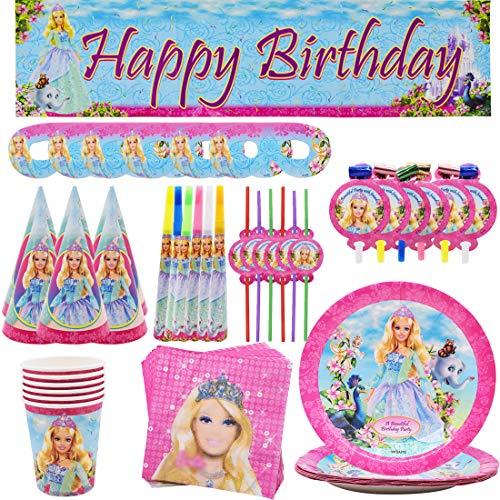 Party Supplies Juego de Decoración Happy Birthday Party Vajilla Tomicy 63pcs Muñeca Party Supplies Decoraciones de Vajilla para Fiestas de Cumpleaños para Niños-6 Invitados