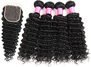Malaysian 8 A Virgin Human Hair 4 Bundles with Lace Closure Curly Hair Extensions Natural Color (20 22 24 26+20C, deep wave)