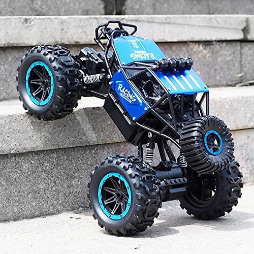Nsddm 1/18 Scale RC Car, 2.4GHz Coche de Control Remoto eléctrico, 4WD All Terrain Offroad Vehicle, Aleación Impermeable Monstruo Climbing RC Truck, Pasatiempo de Juguete para niños Niños 30 cm Azul