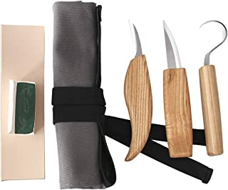 Wood Carving Tool Set for Spoon Carving with 3 Knives in Canvas Roll Kit for Beginners - Including Wood Carving Hook, Whittling Sloyd Knife, Chip Detail Knife, Leather Strop and Polishing Compound