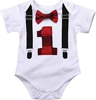 Aalizzwell Baby Boys 1st Birthday Bow Tie Toddler Infant Romper Bodysuit Onesie