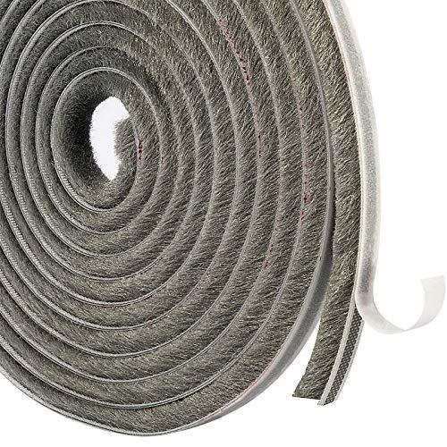MAGZO Bürstendichtung Selbstklebend 9mm x 9mm x 4.9m, Dichtungsbürsten Winddicht Staubdicht, Bürstendichtung Rolladen für Schiebetüren, Fenster, Tür und Garderobe (Grau)