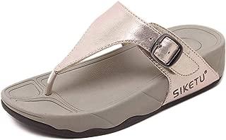 APTRO Women's Rhinestone Flat/Wedge Sandals T-Strap Thong Sandals Bohemia Flip-Flops