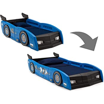 Delta Children Grand Prix Race Car Toddler & Twin Bed - Made in USA, Blue