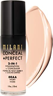 Milani Conceal + Perfect 2-in-1 Foundation + Concealer - Ivory (1 Fl. Oz.) Cruelty-Free Liquid Foundation - Cover Under-Eye Circles, Blemishes & Skin Discoloration for a Flawless Complexion