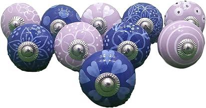 PUSHPACRAFTS 10 knopen violet & wit handgeschilderd keramische knopen kast lade trekken paars roze