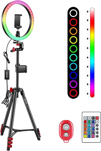 """Neewer 10"""" RGB Ring Light with Tripod Stand & 2 Phone Holders Dimmable Selfie Ring Light with Remote Control 16 Colors 4 Flash Modes and Selfie Remote for Makeup/Live Streaming/YouTube/TikTok"""